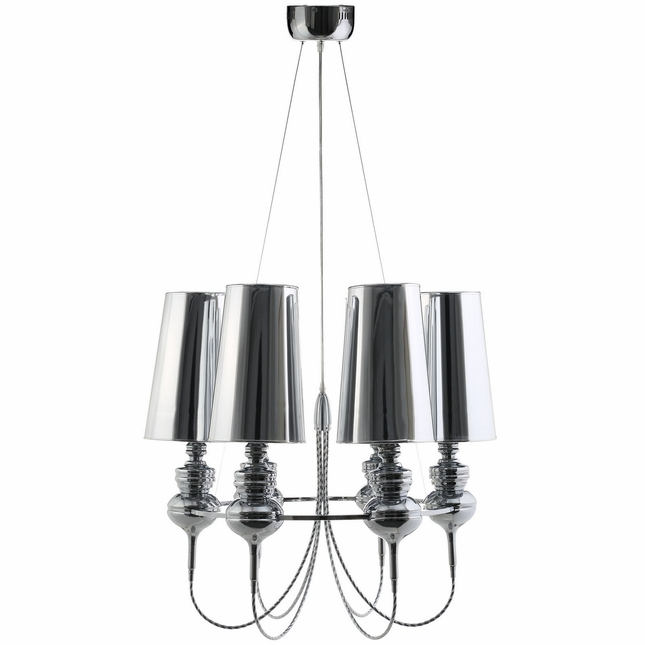Tapestry Vintage Modern Stainless Steel Canopy Shade Chandelier, Silver