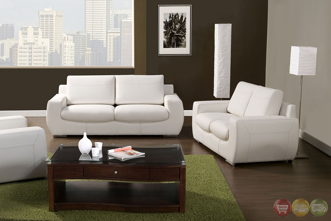 tekir contemporary white living room set with bonded leather sm6032
