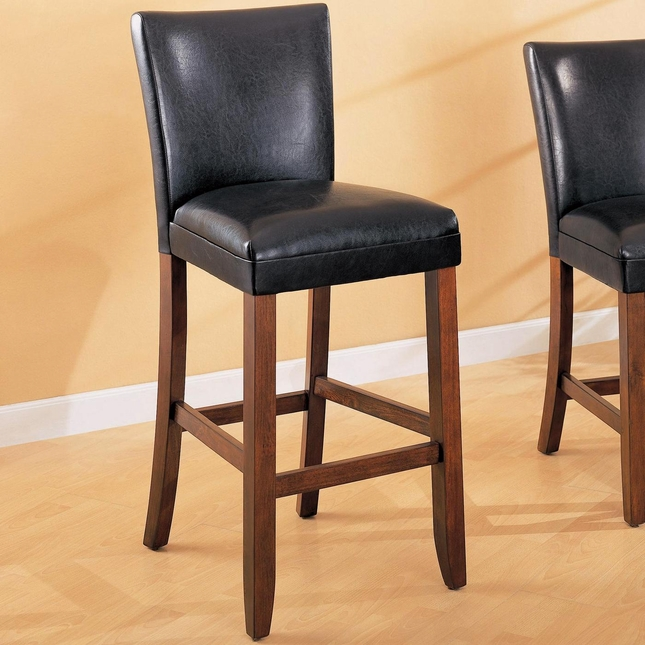 Telegraph Set of 2 Black Faux Leather Bar Stools