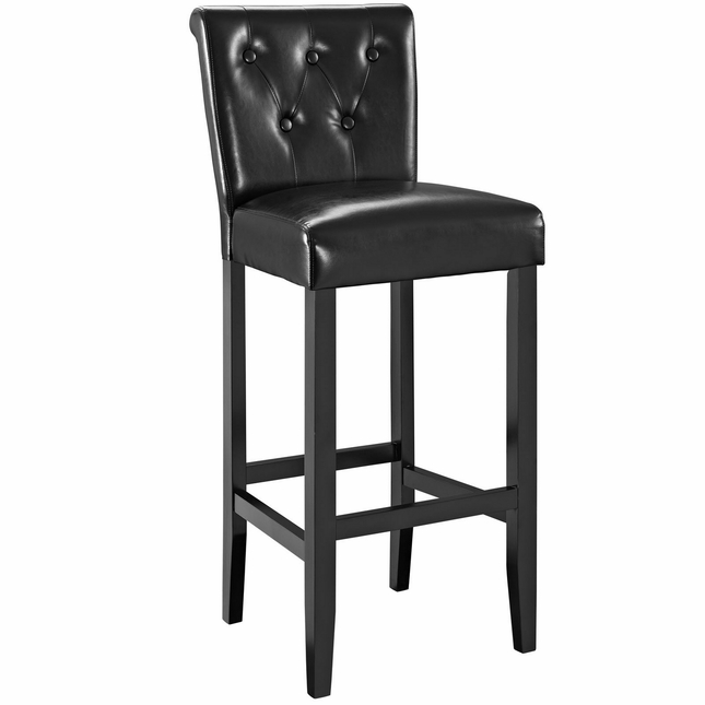 Tender Modern Button-tufted Faux Leather Bar Stool w/ Foot Stretcher, Black