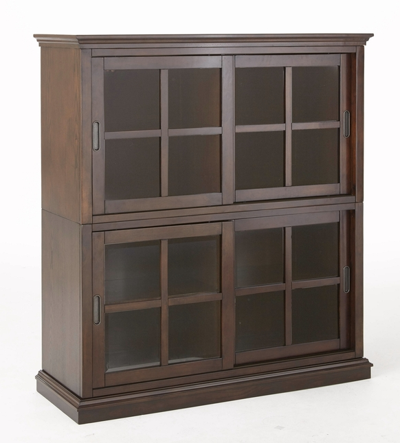 Tenton Stackable Closed Bookcase With Sliding Doors In Merlot Cherry