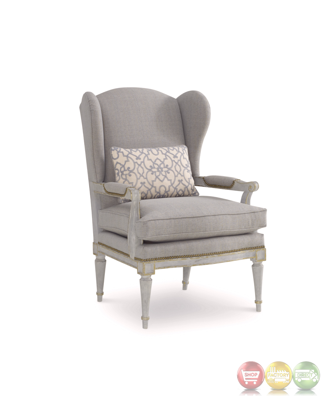 The Foundry French Provincial Wingback Chair In Distressed