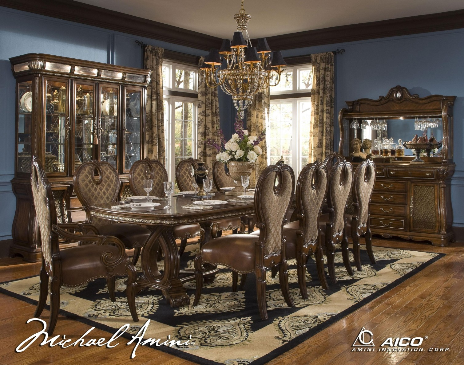 traditional rectangular dining room set by aico item 57002 51 set
