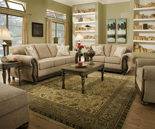 Traditional Sofas Living Room Furniture: Theory Dunes Traditional Beige Living Room Furniture Set W