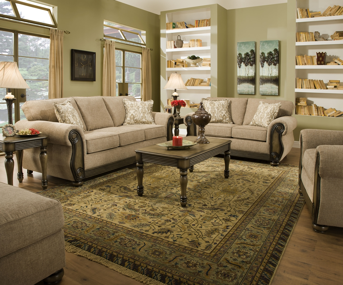 Traditional Living Rooms Furniture Fabric: Theory Dunes Traditional Beige Living Room Furniture Set W