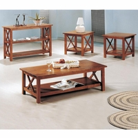 Three Piece Brown Cross Coffee Table and End Table Set