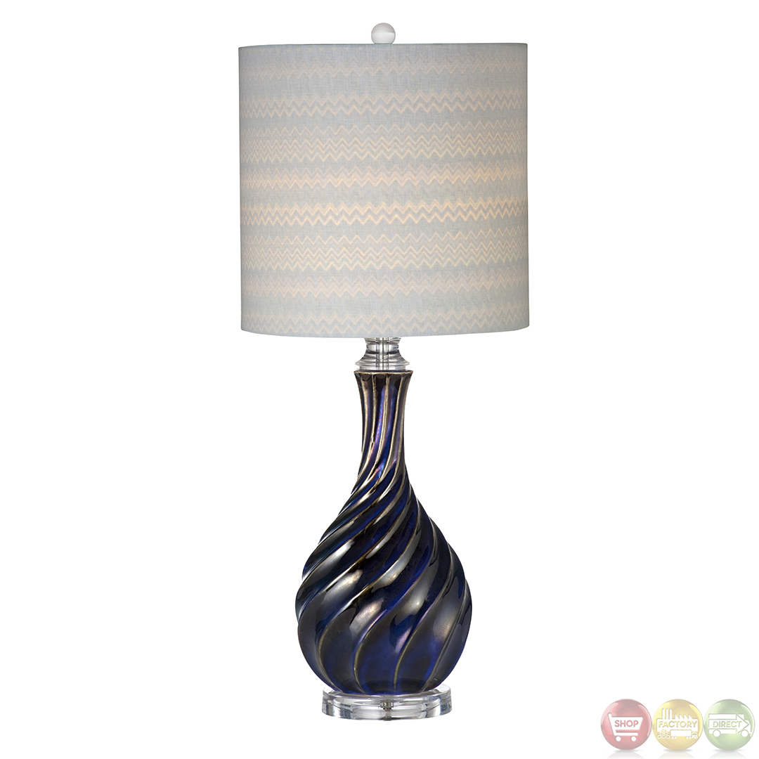 Tiburon Ceramic Navy Blue Table Lamp L2720TEC