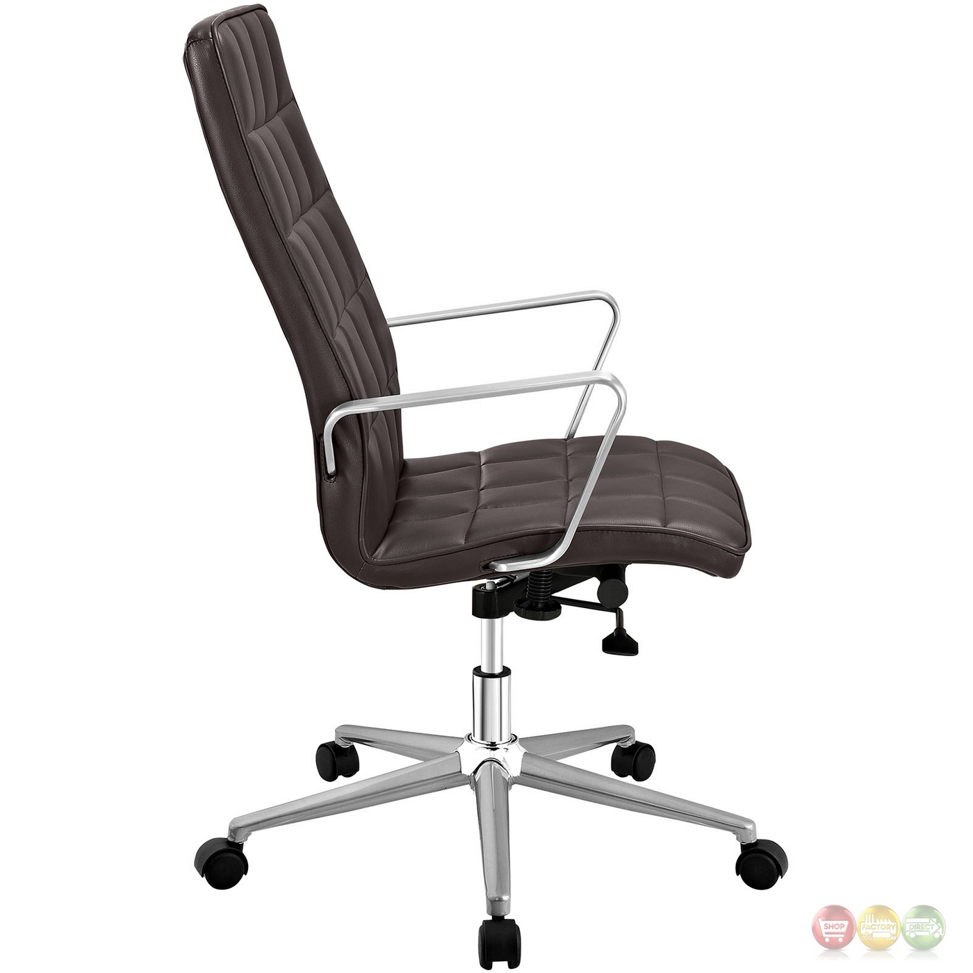 High back vinyl upholstered office chair with tilt and swivel brown