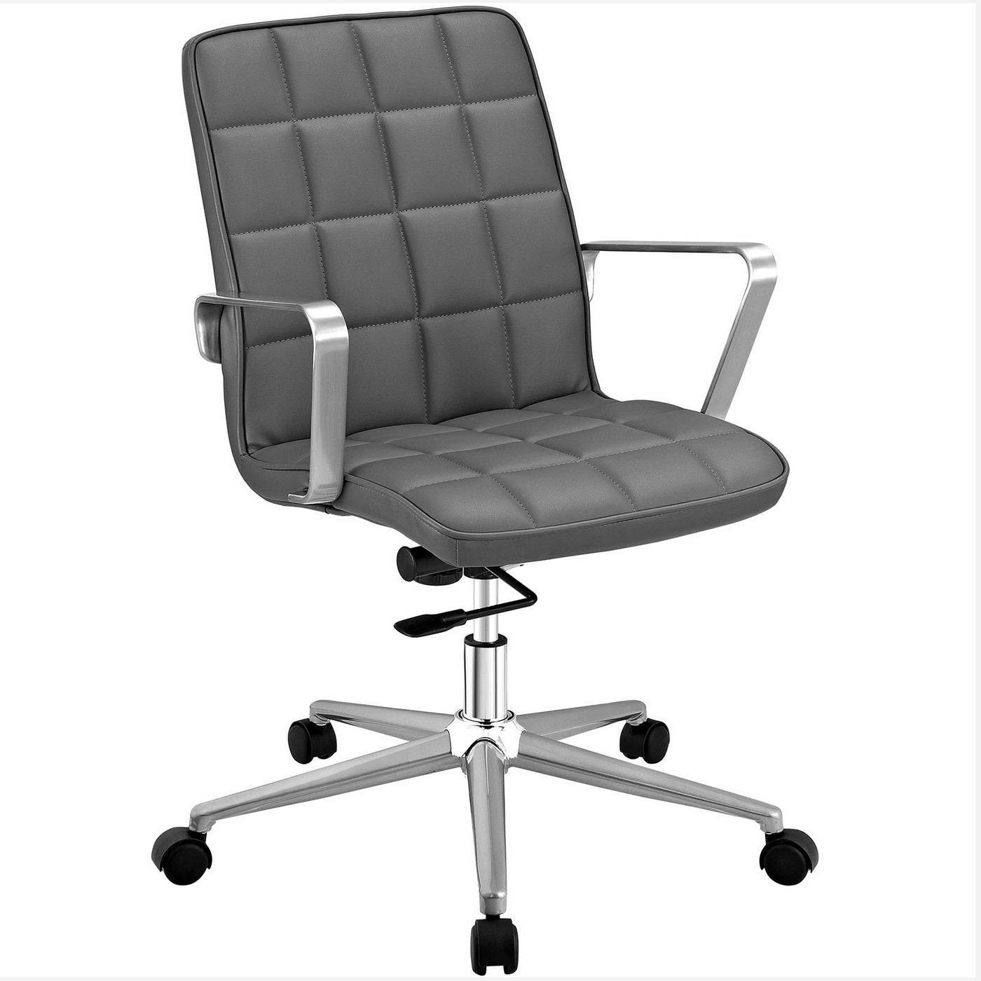 Vinyl upholstered office chair with adjustable tilt and swivel gray