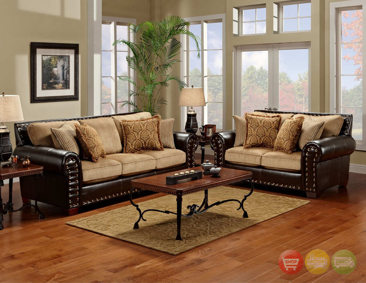 Traditional browntan living room furniture set w nailhead trim
