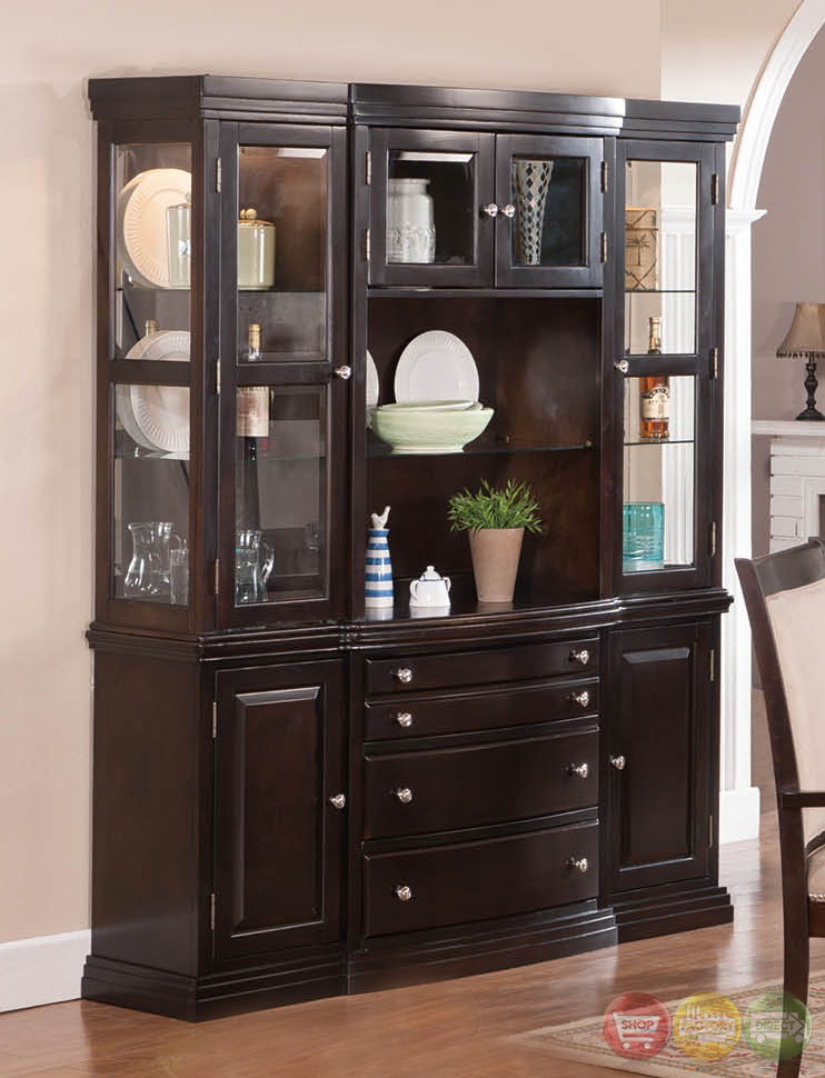 Tony Transitional Dark Wood Formal Dining Set With Buffet