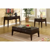 Torino Contemporary Dark Walnut Accent Tables with Storage Drawers