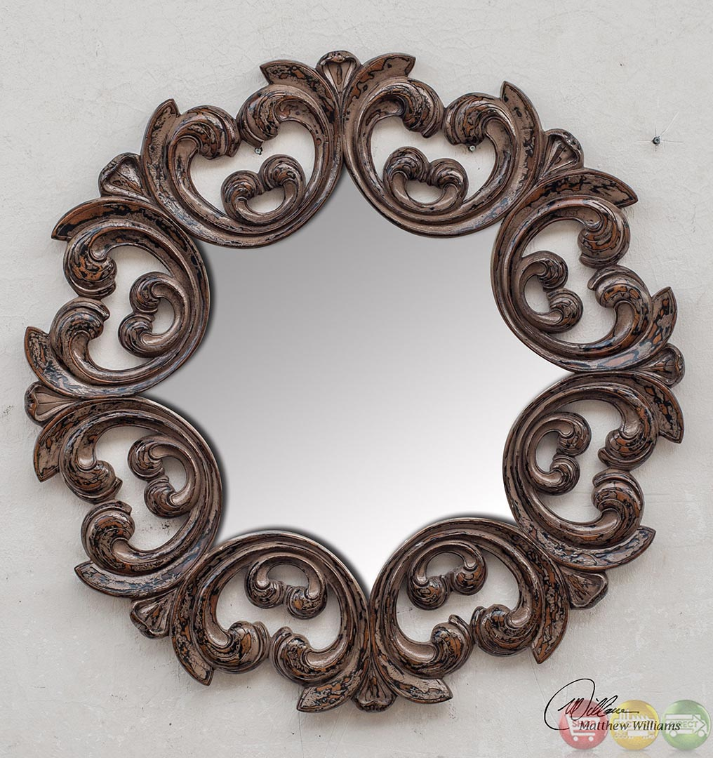 Torlonia Traditional Heavily Distressed Taupe Gray Round Mirror With