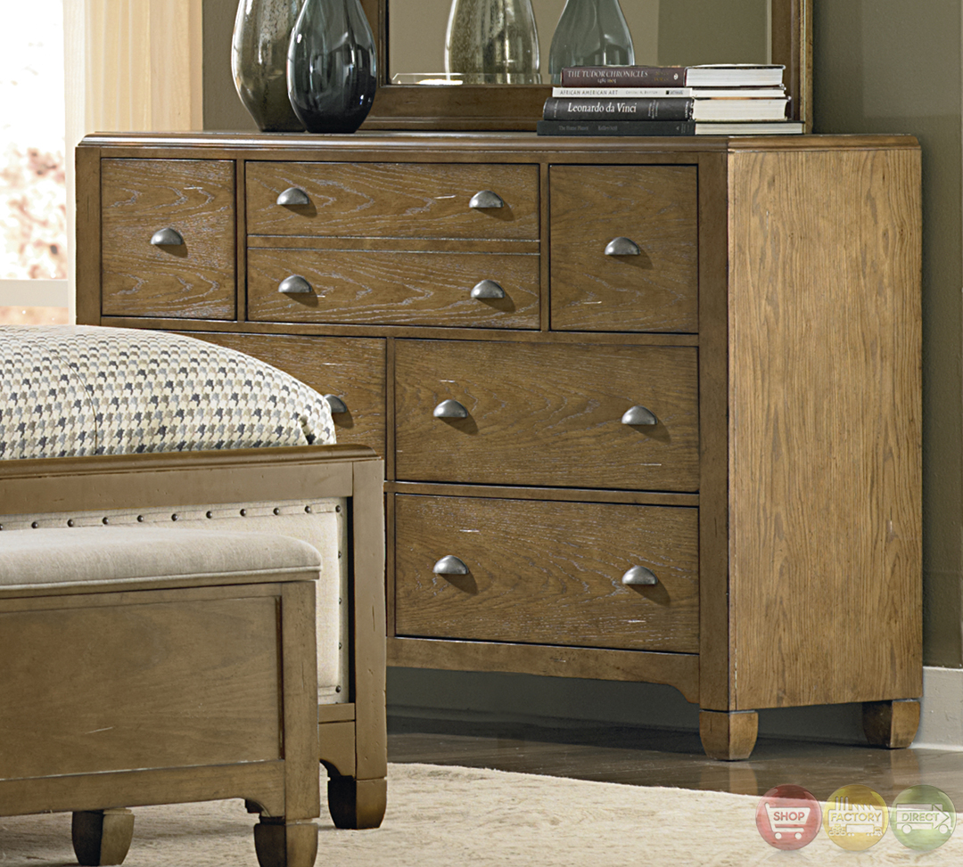 Town and Country Distressed Upholstered Panel Bedroom Set
