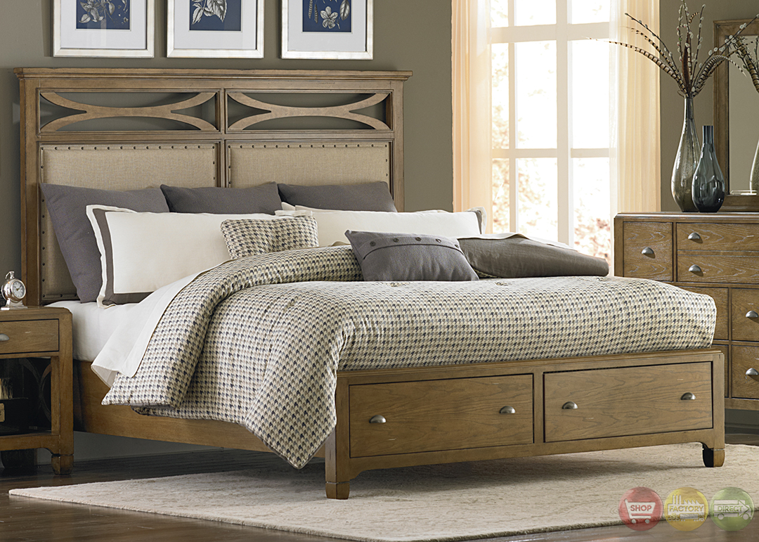 Town and country distressed finish storage bedroom set for Distressed bedroom set