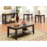 Townsend III Transitional Dark Cherry Accent Tables Set with Open Shelf