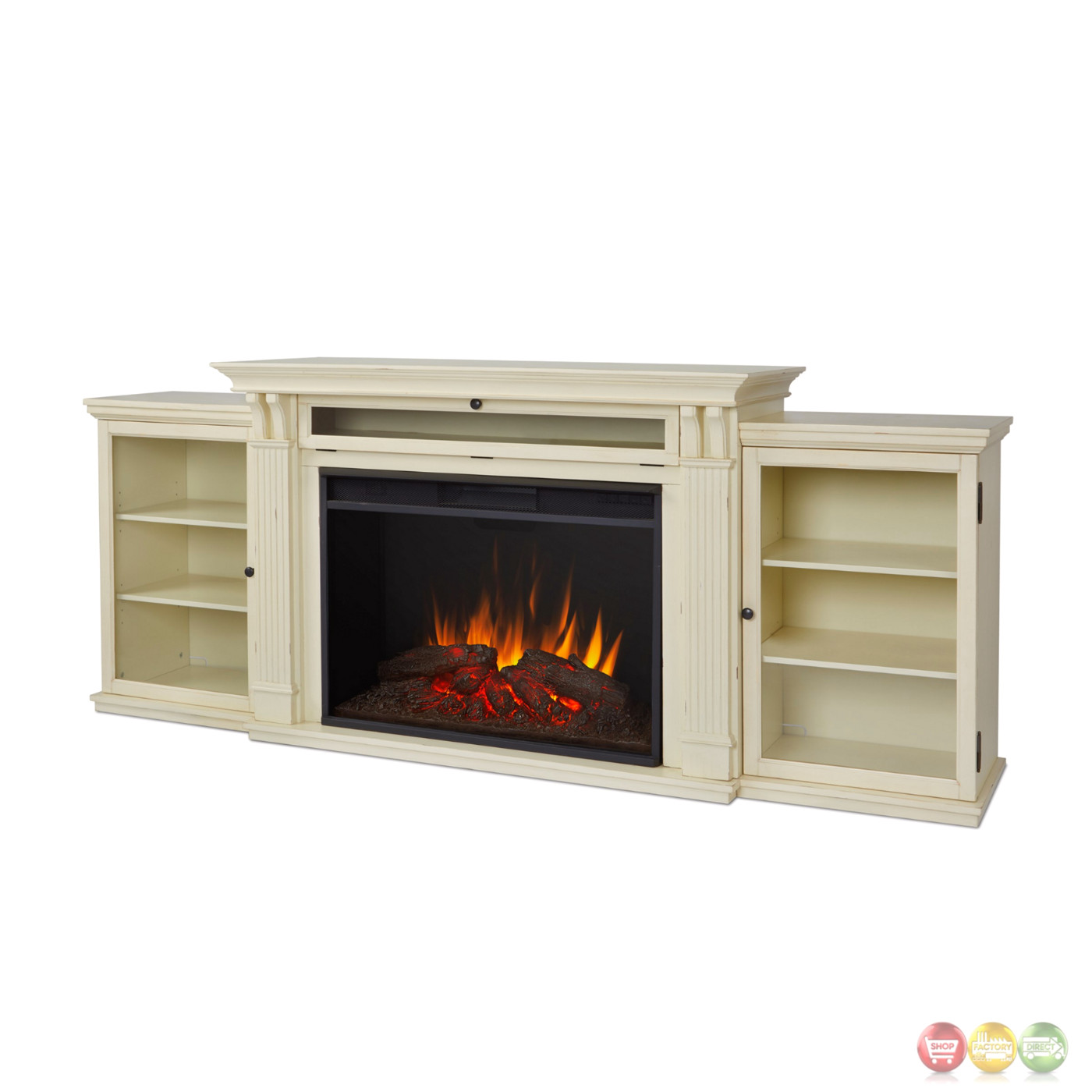 Tracey Grand Entertainment Center Electric Fireplace In Black, 84x35