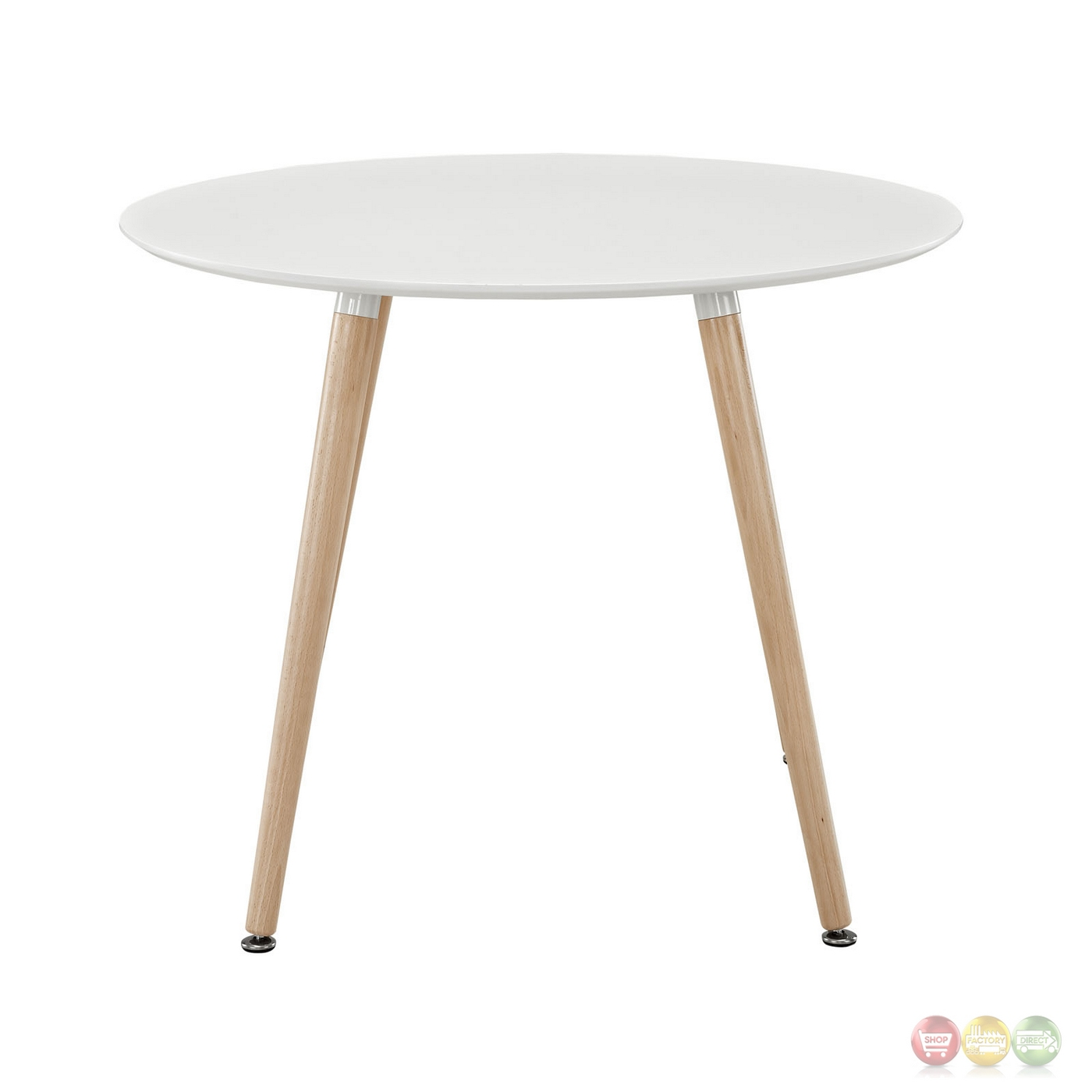 Track Contemporary 40 Quot Round Wooden Dining Table White