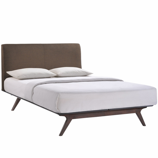 Tracy Contemporary Upholstered Platform King Bed, Cappuccino Brown