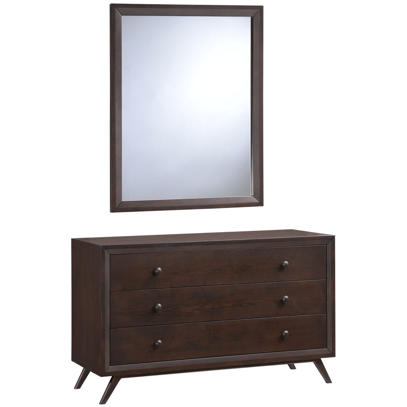 Tracy Mid Centurn 3 Drawer Dresser And Mirror Cappuccino Mod 5310 Cap Set on Ay Dresser Furniture