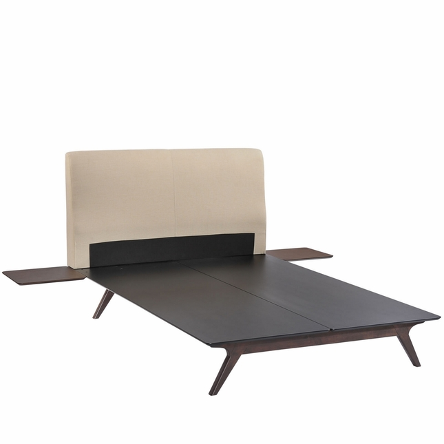 Tracy Mid-century Upholstered King Platform Bed With Nightstands, Cappuccino Beige