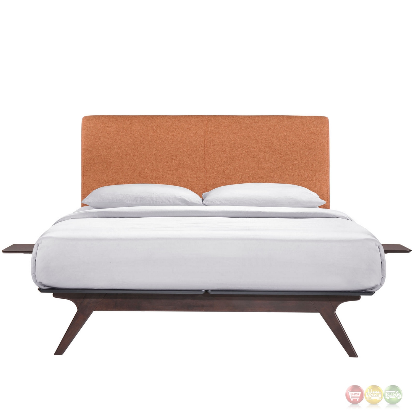 tracy mid century upholstered king platform bed with