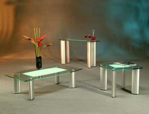 Tracy Three Piece Frosted Glass Top Coffee Table Set