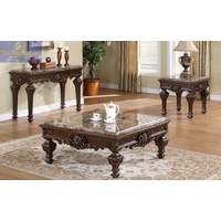 Traditional 3 Piece Coffee Table & End Tables Square Marble Tops Ornate Design