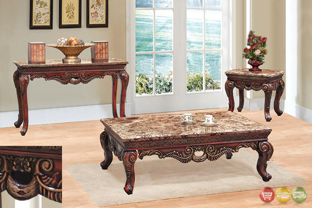 Traditional 3 Piece Living Room Coffee & End Table Set w/ Marble Tops