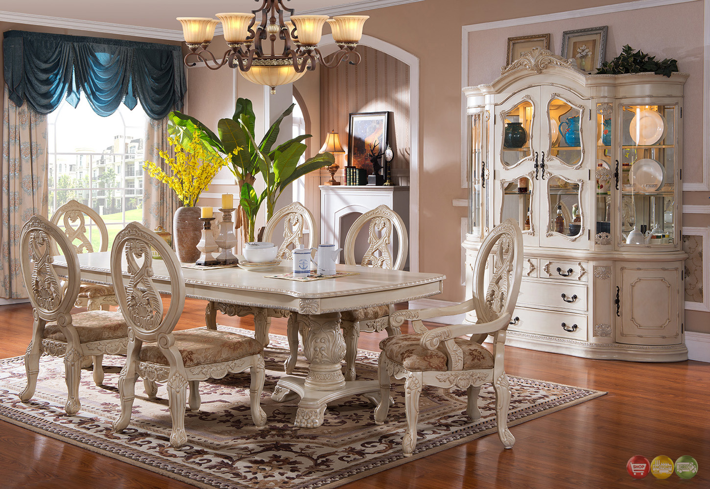antique white formal dining room furniture set carved wood accents