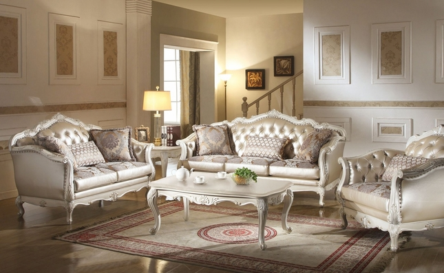 Chantelle Traditional Pearl White Button Tufted Formal Sofa Set Carved Wood