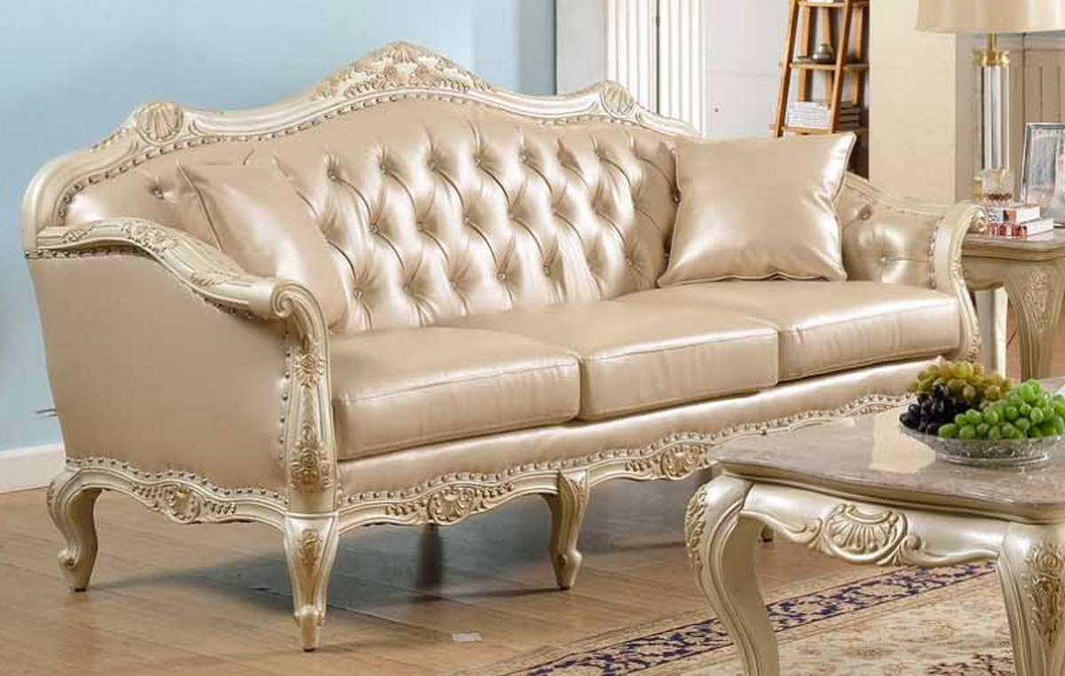 Traditional Antique White Formal Sofa Set With Nail Head