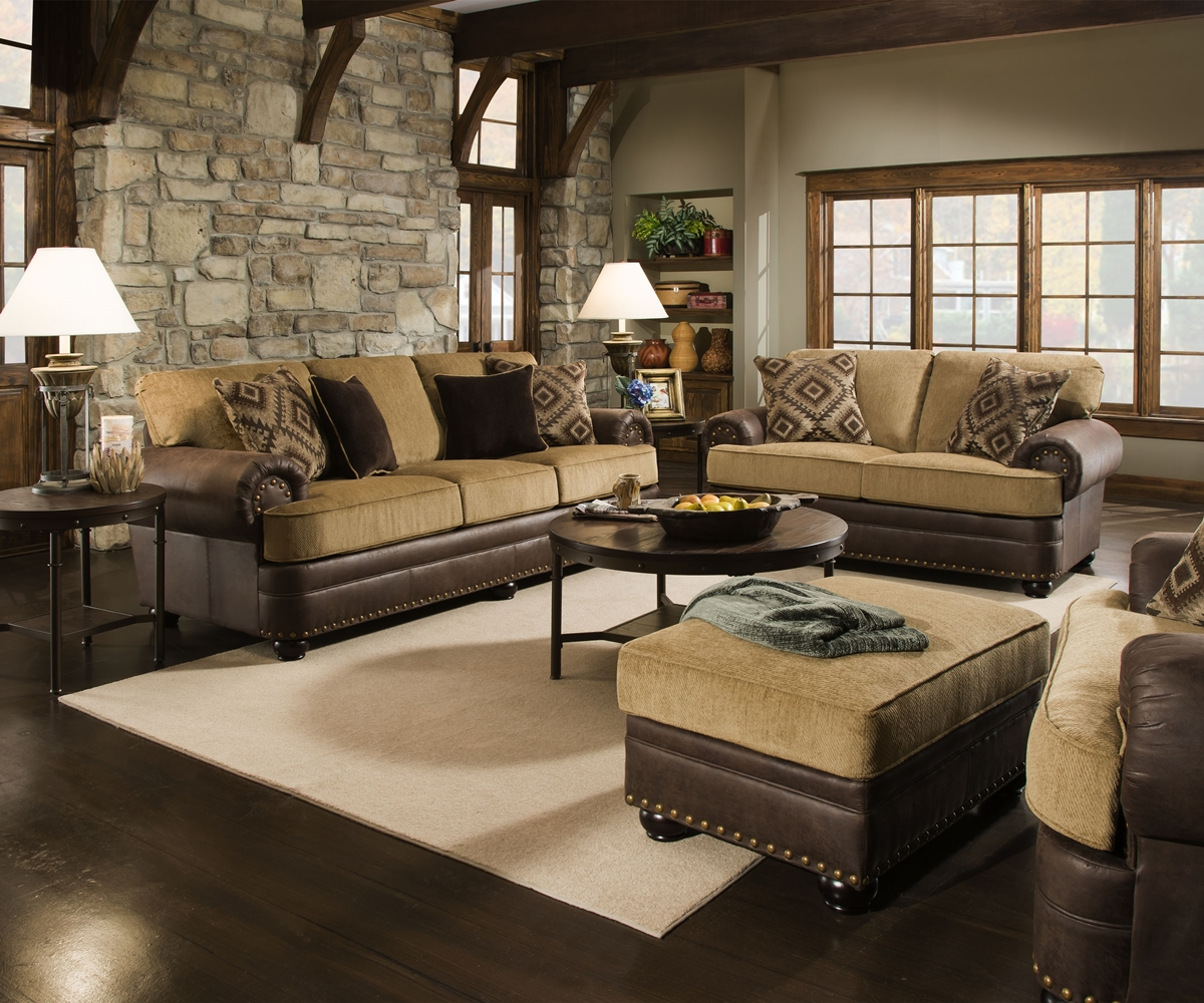 Beige brown living room sofa set w rolled arms nailhead accents