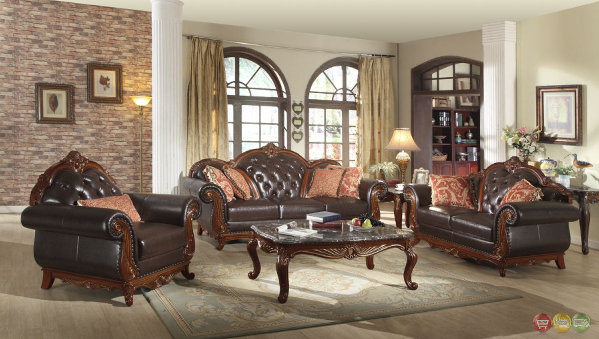 traditional dark brown button tufted leather living room
