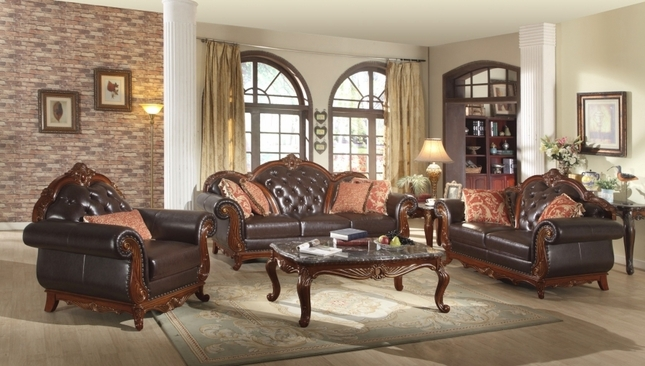 Traditional Dark Brown Button Tufted Leather Living Room Furniture w/ Exposed Wood