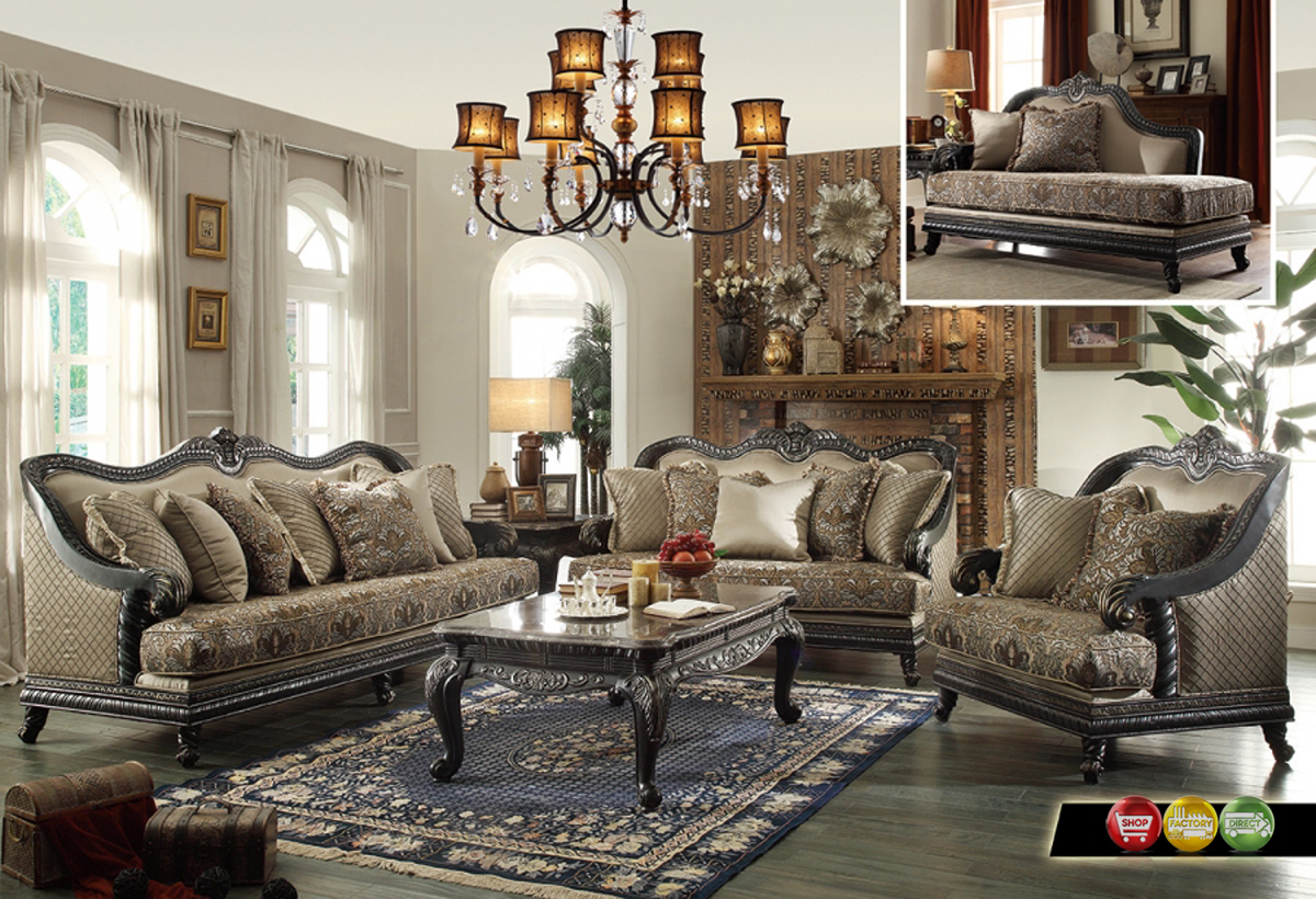 European Design Formal Living Room Luxury Sofa Set Dark Wood Frames