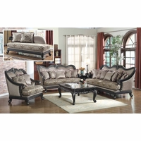 Traditional European Design Formal Living Room Luxury Sofa Set Dark Wood Frames
