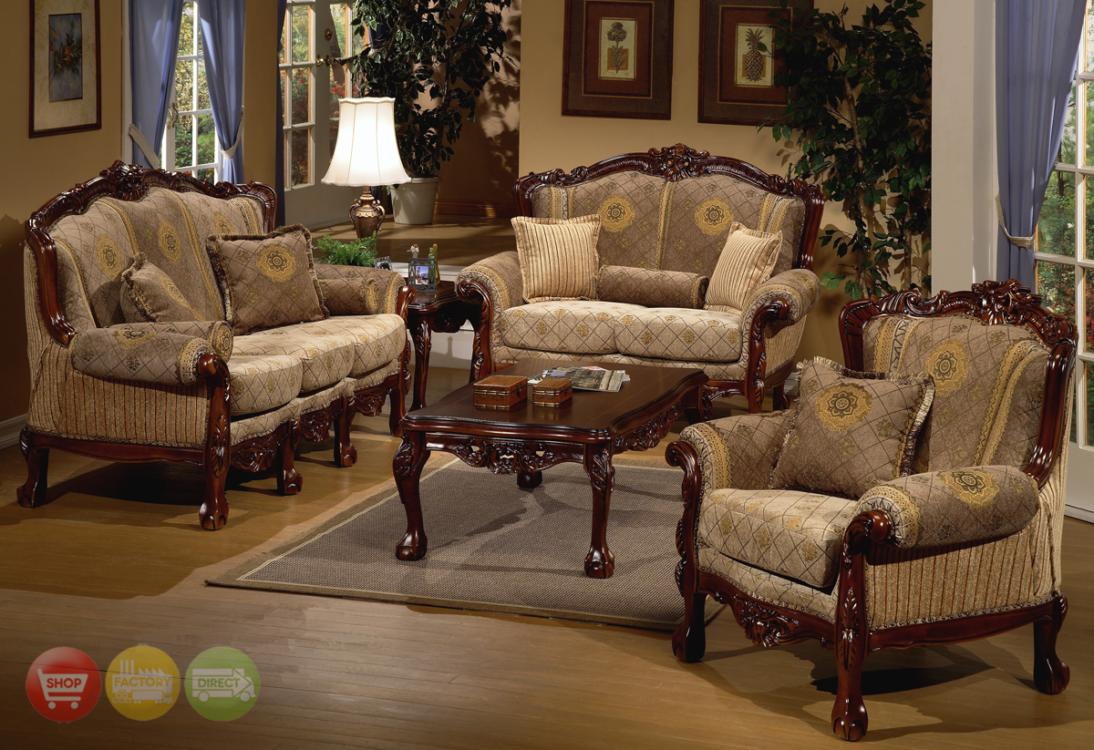 design formal living room sofa set w carved wood accents hd 94 kd