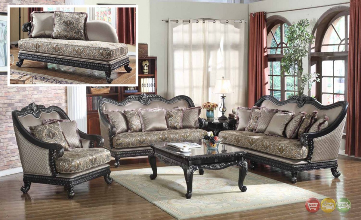 ... Traditional Formal Living Room Furniture Sofa Dark Wood Frame Couch