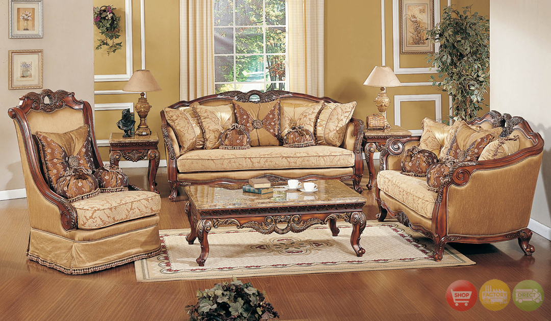 traditional formal living room sofa set medium cherry