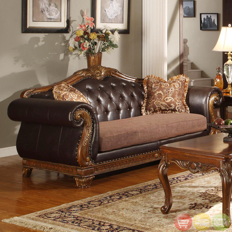Furniture Of America Mallory Formal Cherry Red: Traditional Medium Cherry Formal Sofa Set With Tufted