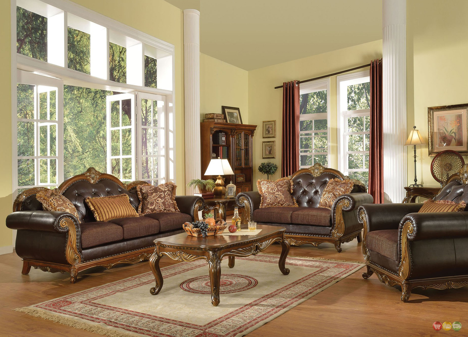 Dorothea Traditional Formal Living Room Sofa Set W/ Wood