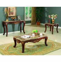 Traditional Occasional Cocktail Coffee Table End Table Set Marble Top Carved Wood
