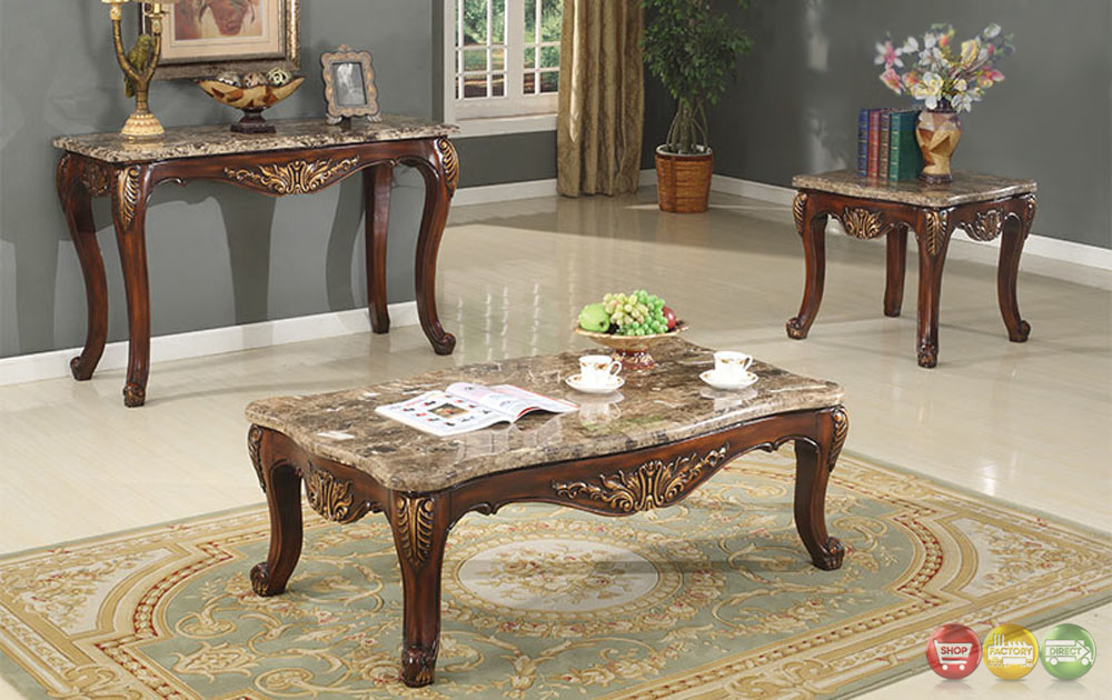 Traditional Occasional Cocktail Coffee Table End Table Set Marble Top