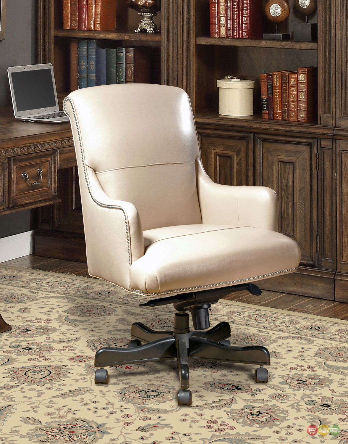 traditional office furniture desk chair beige leather