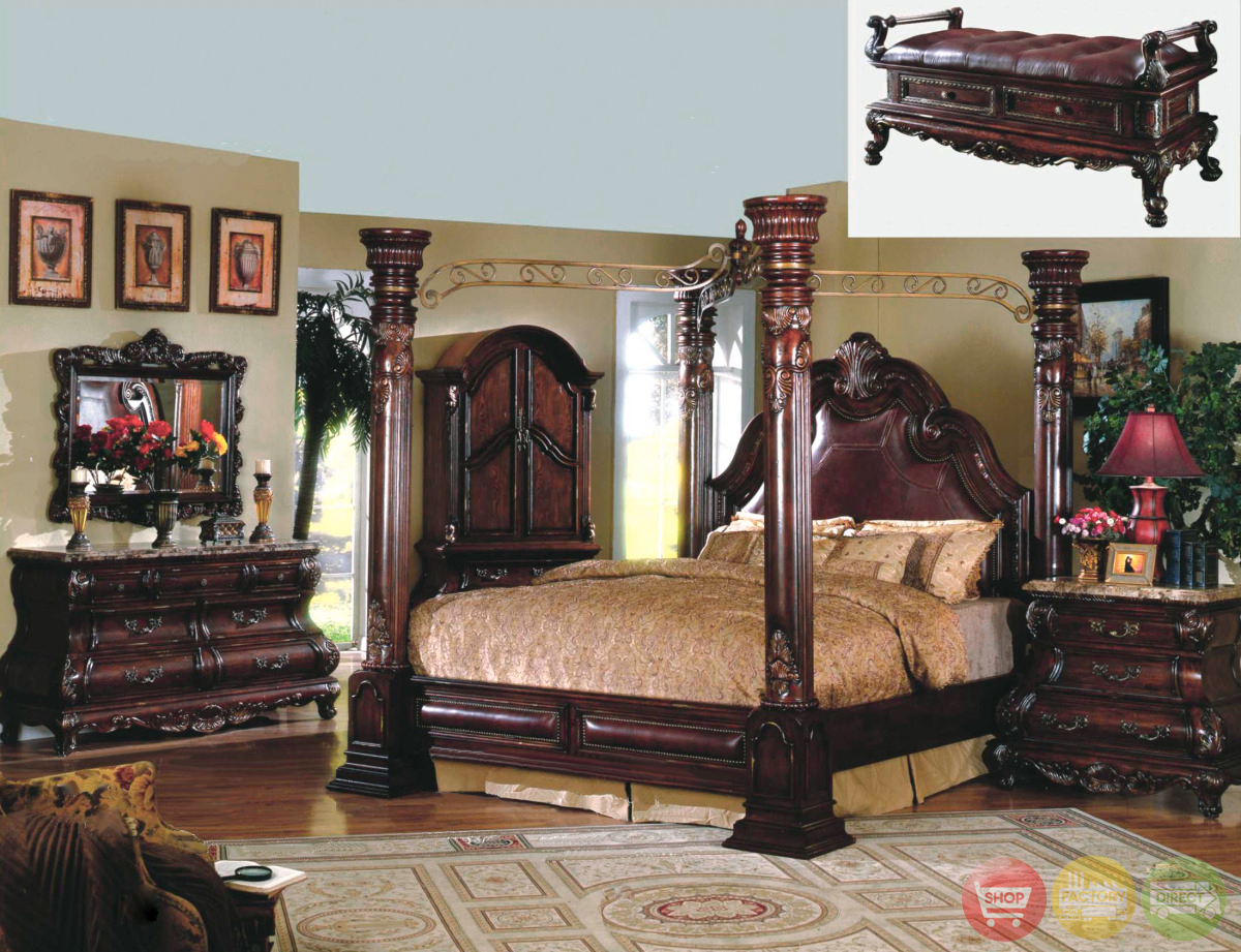 Traditional Poster Canopy Bed Leather & Marble Master