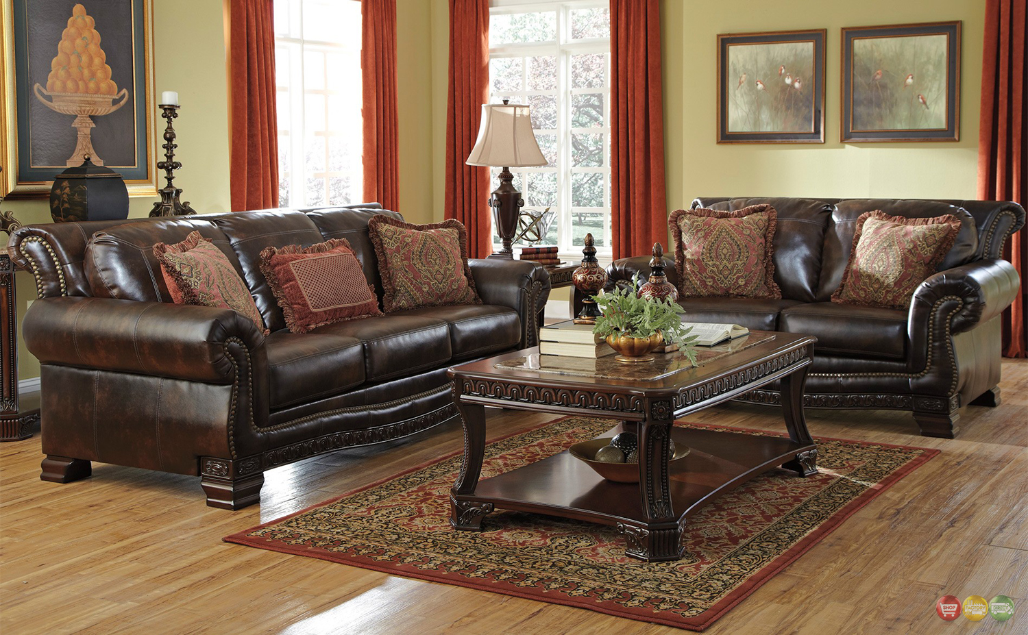 Traditional Style Living Room Furniture Brown Durablend w ...