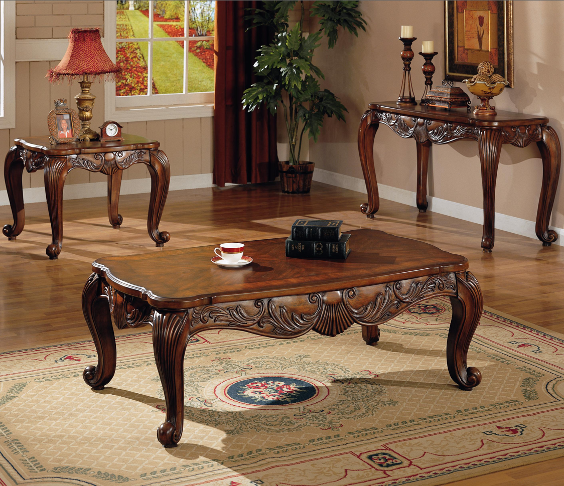 Traditional Style Occasional Coffee Cocktail Table End Table Set