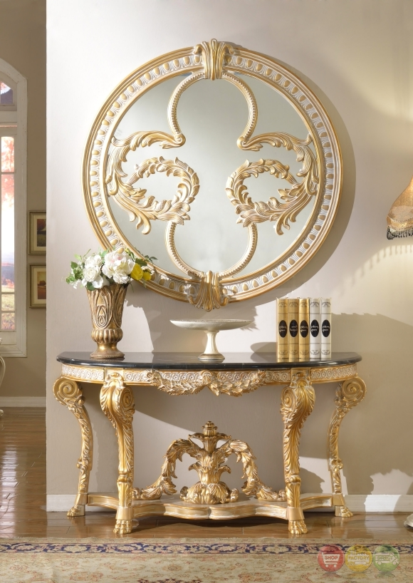 Traditional Versailles Gold Wood Marble Top Console Table