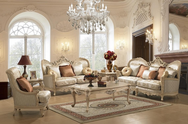 Traditional Victorian Fabric Living Room Set By Homey Design Hd-91